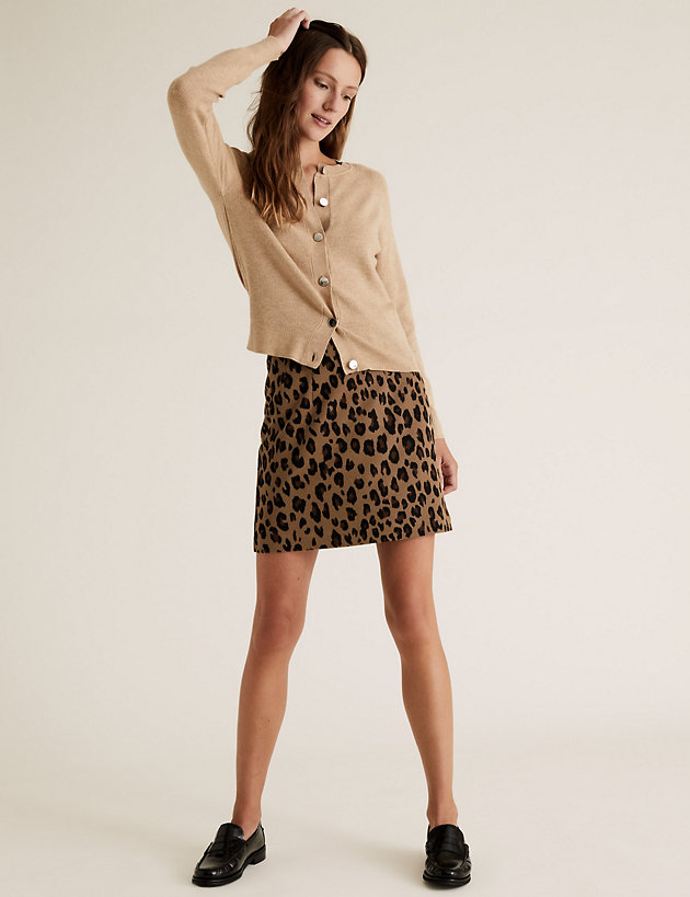 Jersey Animal Print Mini A-Line Skirt