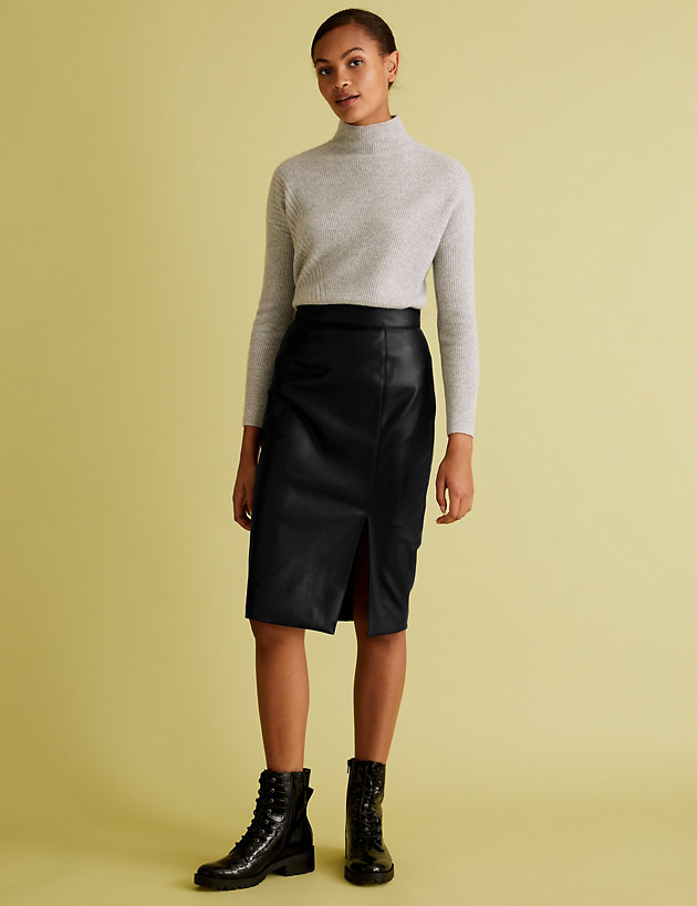 Faux Leather Side Split Pencil Skirt