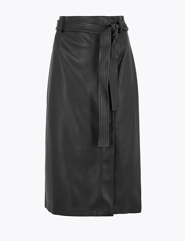 Faux Leather Tie Waist Midi A-Line Skirt