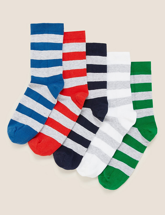 5pk Cotton Striped Rugby Socks