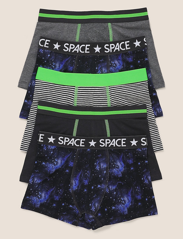 5pk Cotton with Stretch Space Trunks (2-16 Yrs)
