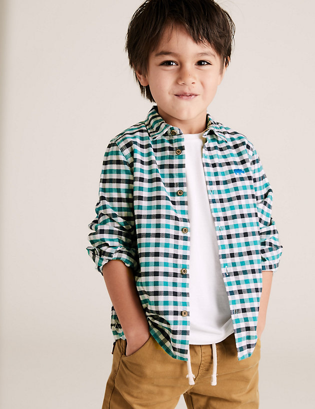 Pure Cotton Gingham Checked Shirt (2-7 Yrs)