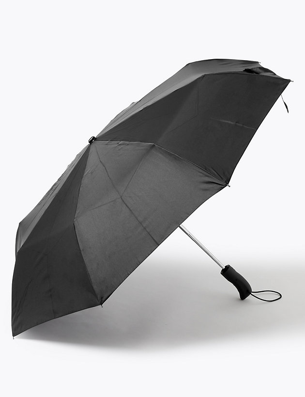 Recycled Polyester Rubber Handle Umbrella with Windtech