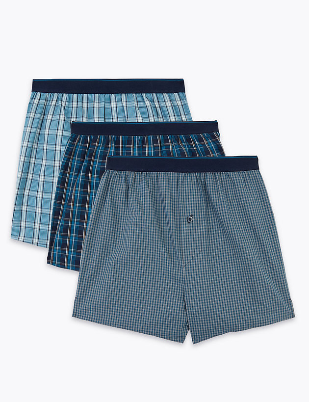 3 Pack Pure Cotton Checked Woven Boxers