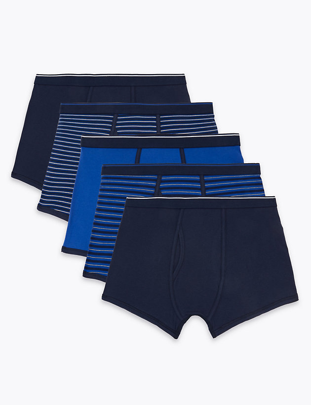 5 Pack Cotton Stretch Cool & Fresh  Trunks