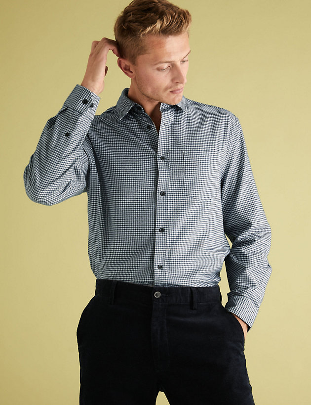 Brushed Cotton Gingham Checked Shirt