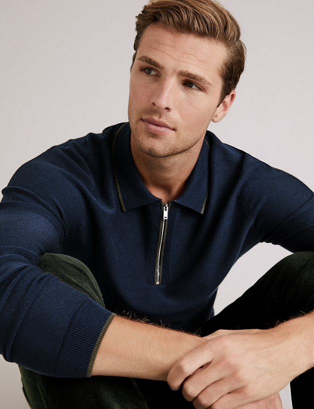 Zip Neck Knitted Polo Shirt With Silk