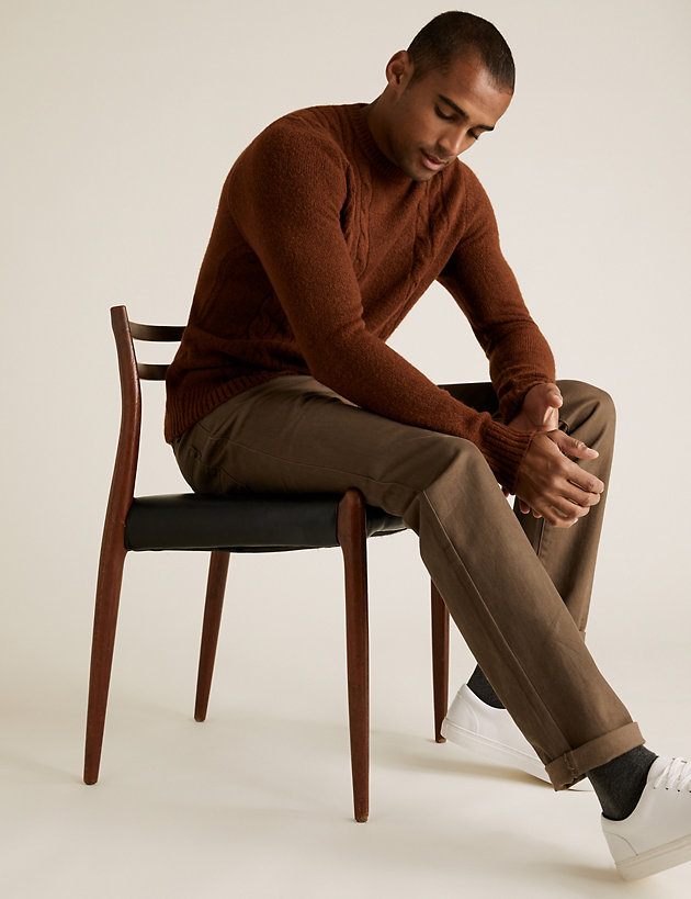 Cable Crew Neck Jumper with Wool