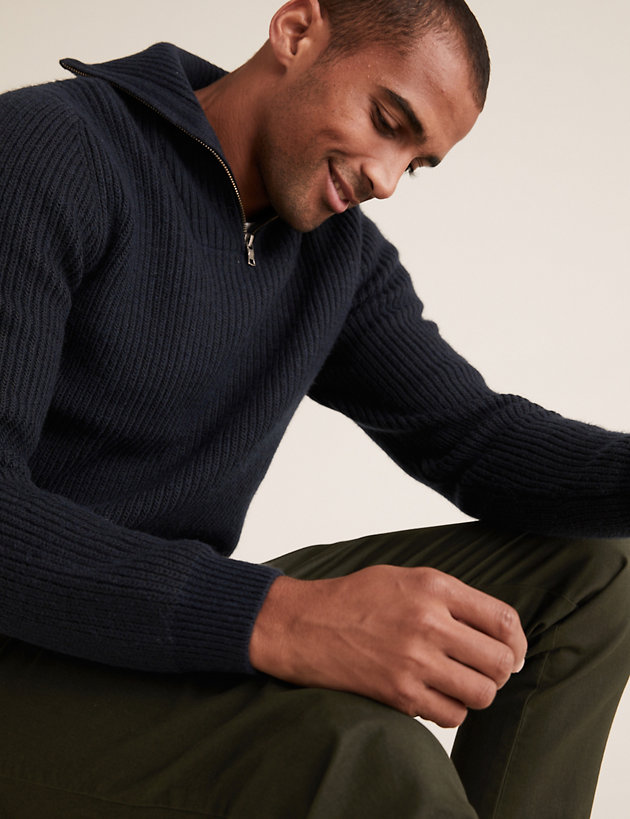 Recycled Textured Half Zip Jumper with Wool