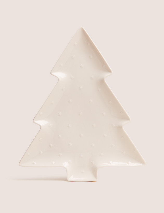 Large Ceramic Christmas Tree Platter