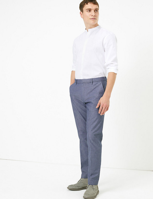 Slim Fit Textured Stretch Chinos