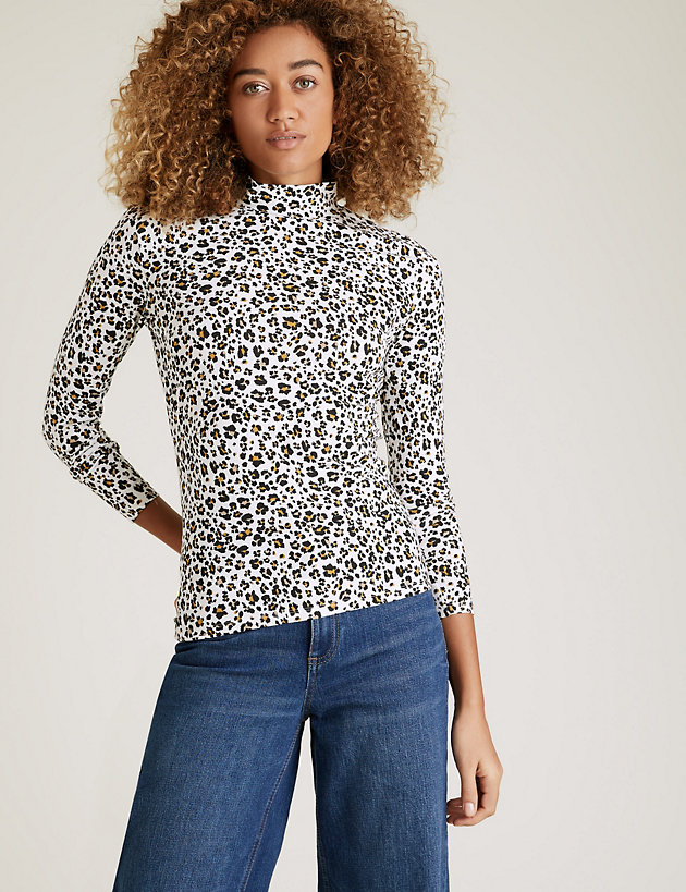 Cotton Animal Print Funnel Neck Fitted Top