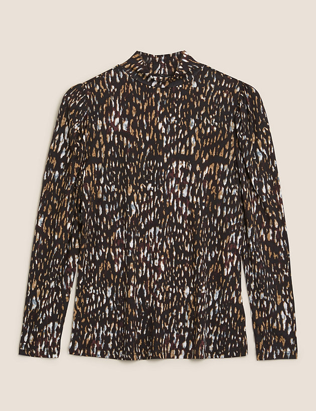 Animal Print Funnel Neck Fitted Top
