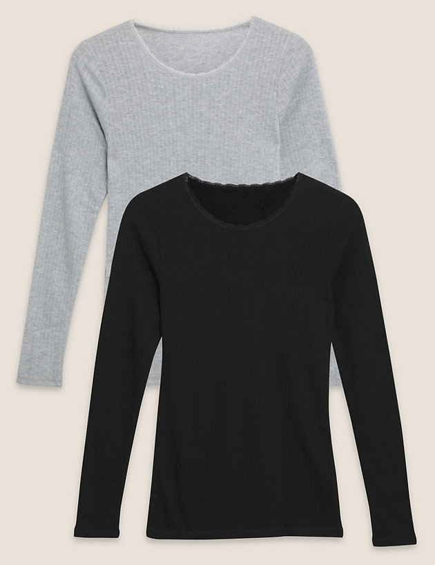 2pk Pointelle Thermal Long Sleeve Tops