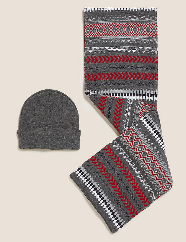 Fair Isle Knitted Hat and Scarf Set