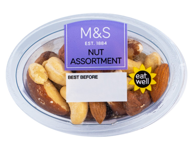 A Selection Of Almonds, Brazil Nuts, Cashew Nuts And Hazelnuts