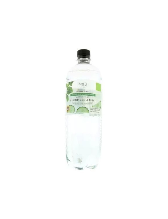 Unsweetened Sparkling Spring Water With A Hint Of Cucumber & Mint With Natural Flavours