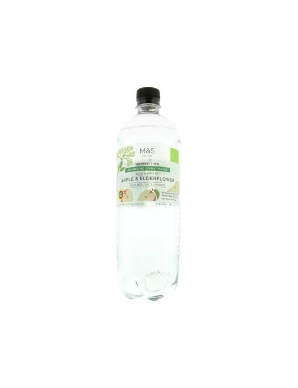Unsweetened Sparkling Spring Water With A Hint Of Apple & Elderflower With Natural Flavours
