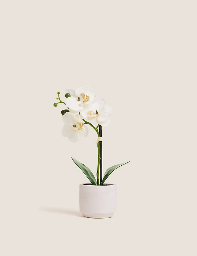 Artificial Small Orchid in Ceramic Pot