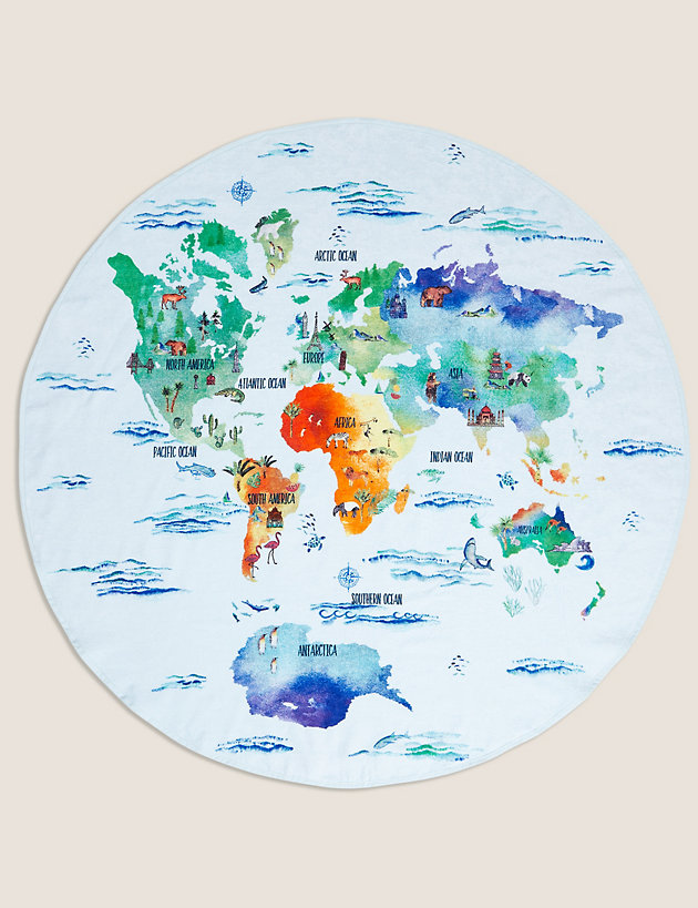 Pure Cotton Map of the World Round Towel