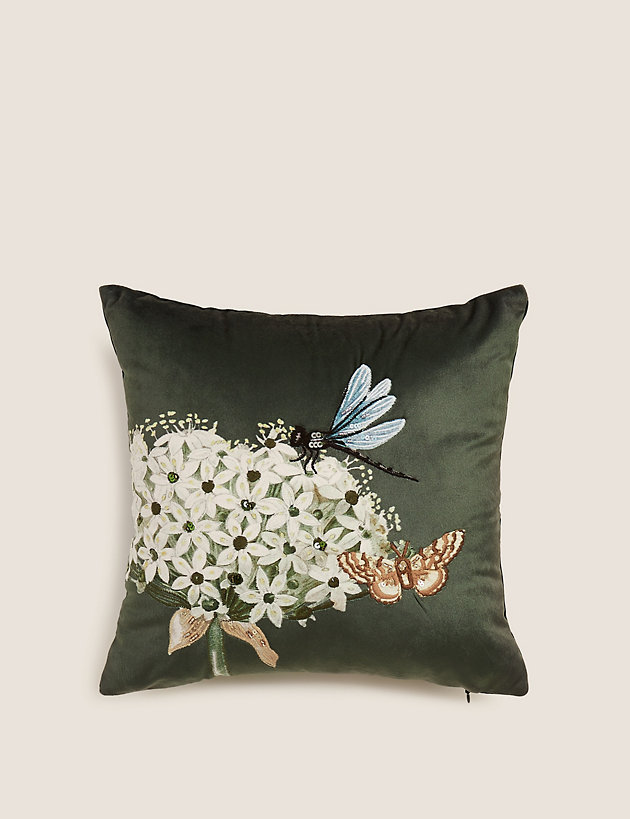 Botanical Small Embroidered Cushion