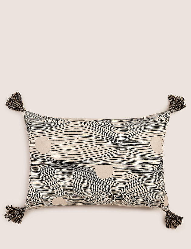 Embroidered Linear Spot Rectangle Cushion