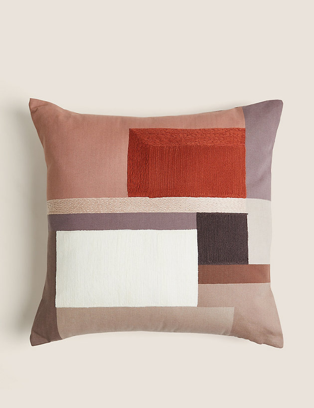 Colour Block Embroidered Cushion