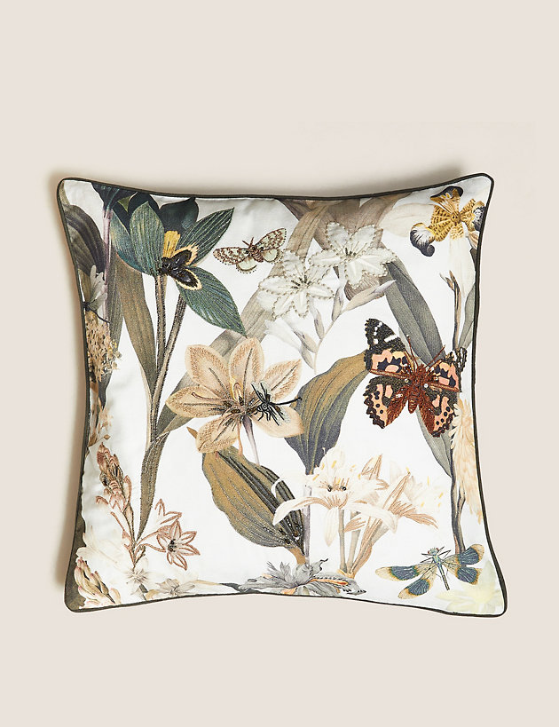 Floral Embroidered & Embellished Cushion