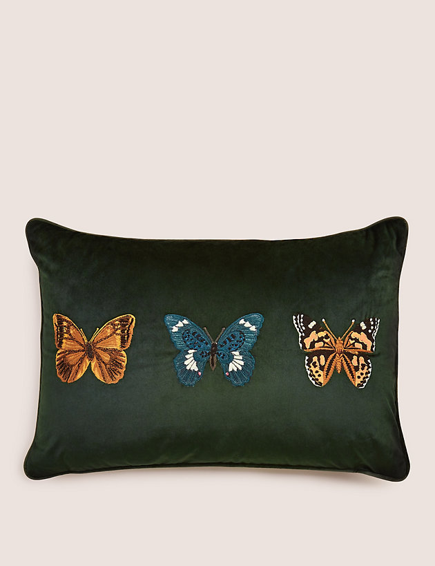 Velvet Butterfly Embroidered Cushion