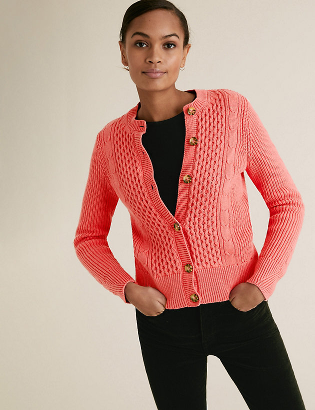 Cotton Cable Knit Crew Neck Cardigan