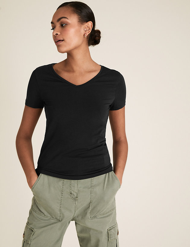 2 Pack Cotton V-Neck Fitted T-Shirt