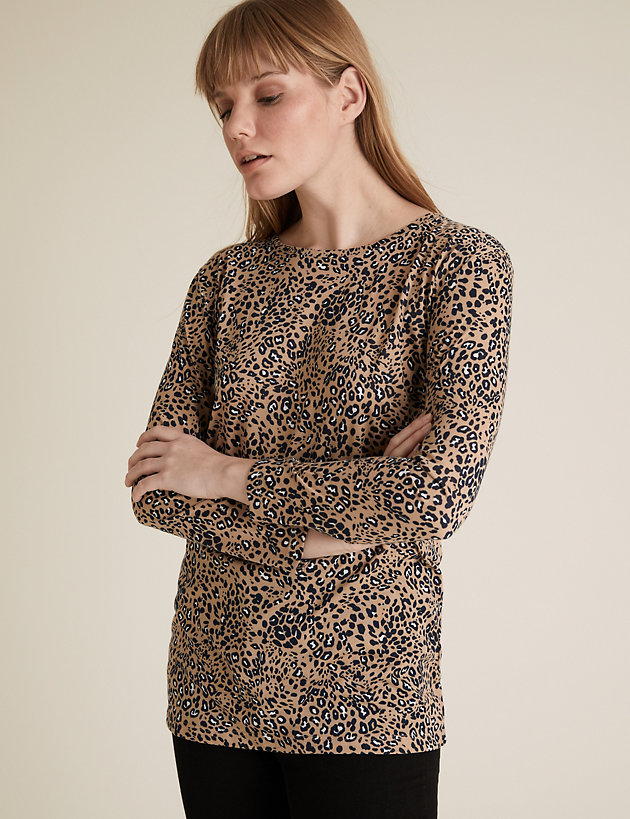 Animal Print Relaxed Longline Top