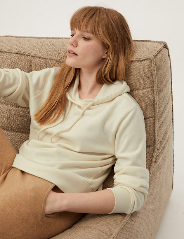 Cotton Relaxed Long Sleeve Hoodie