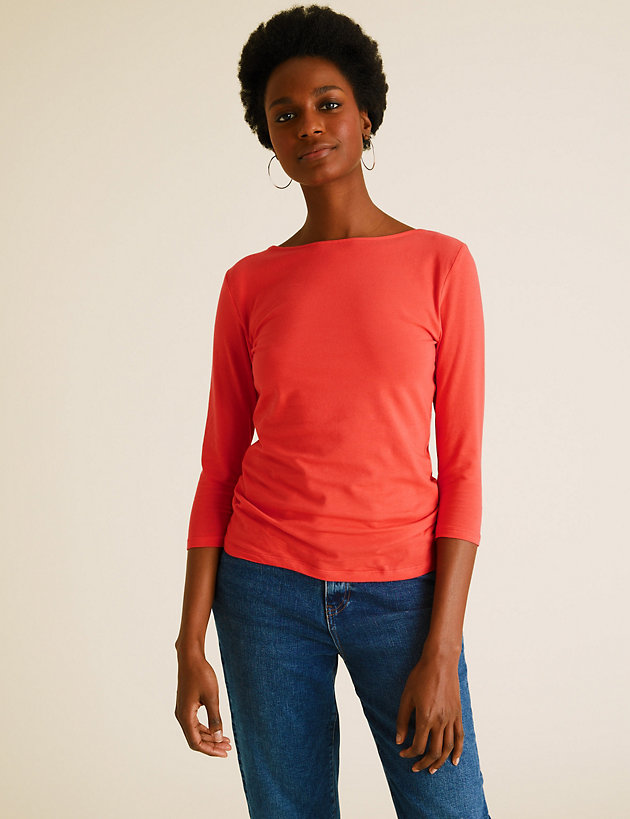 Cotton Fitted 3/4 Sleeve Top