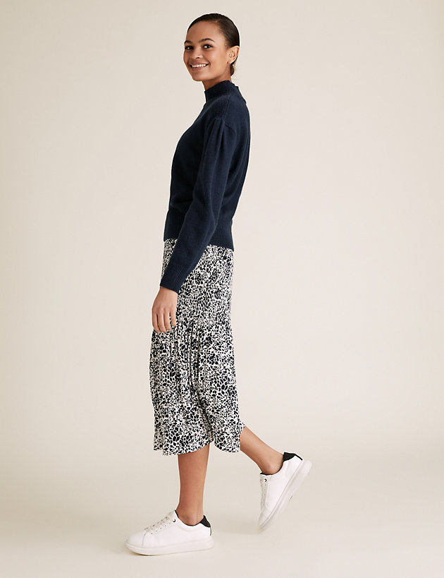 Printed Plisse Midi Straight Skirt