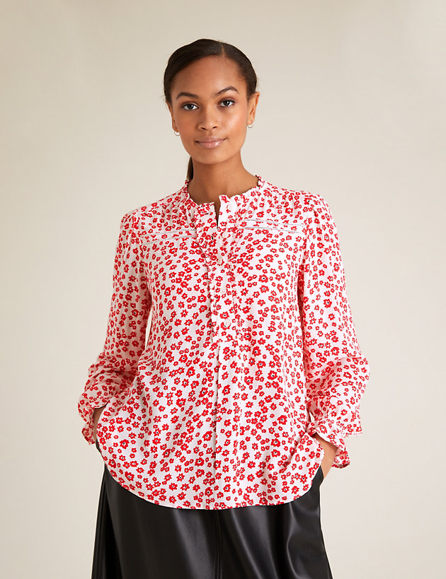 Ditsy Floral Frill Detail Long Sleeve Blouse