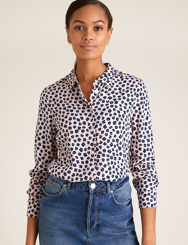 Floral Collared Long Sleeve Shirt