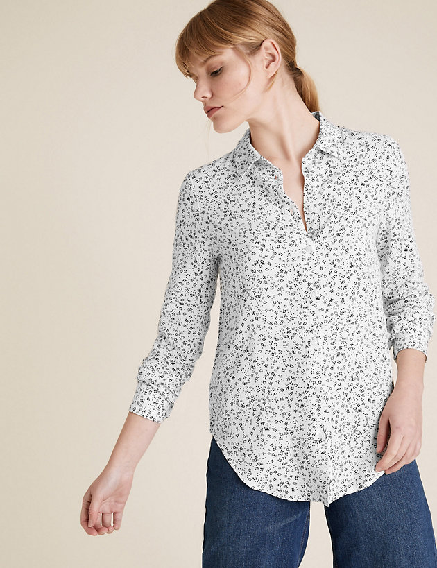 Ditsy Floral Collared Long Sleeve Shirt