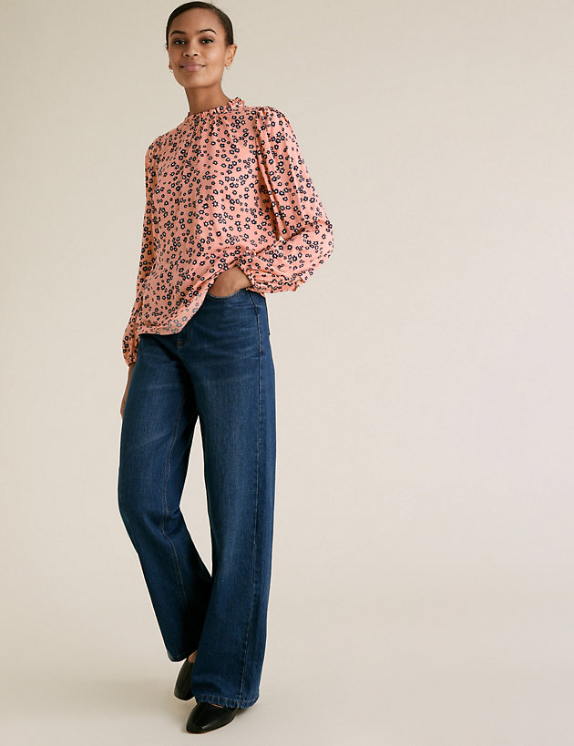 Ditsy Floral Frill Neck Long Sleeve Top