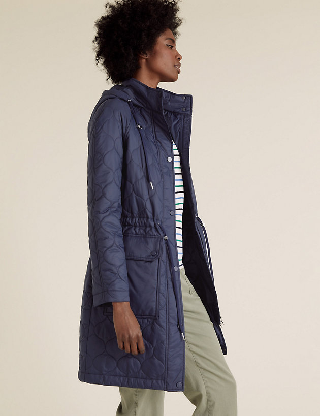 Quilted Funnel Neck Parka