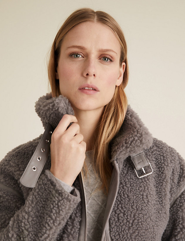 Faux Shearling High Neck Jacket
