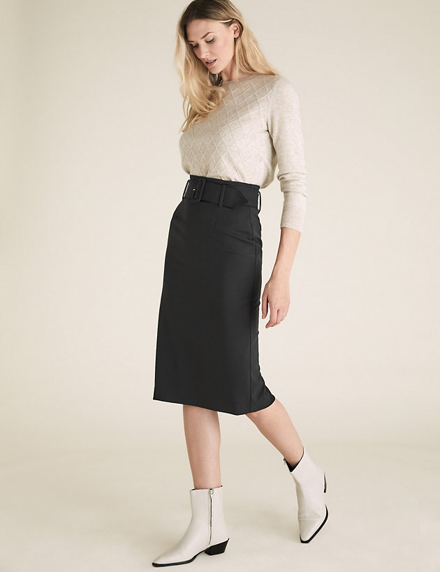 Belted Knee Length Pencil Skirt