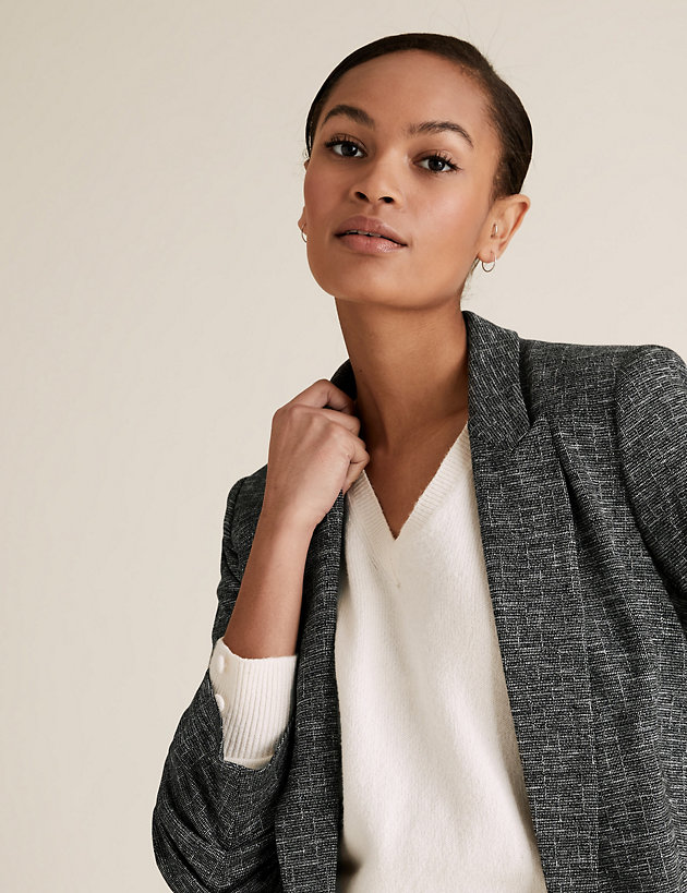 Jersey Relaxed Ruched Sleeve Blazer