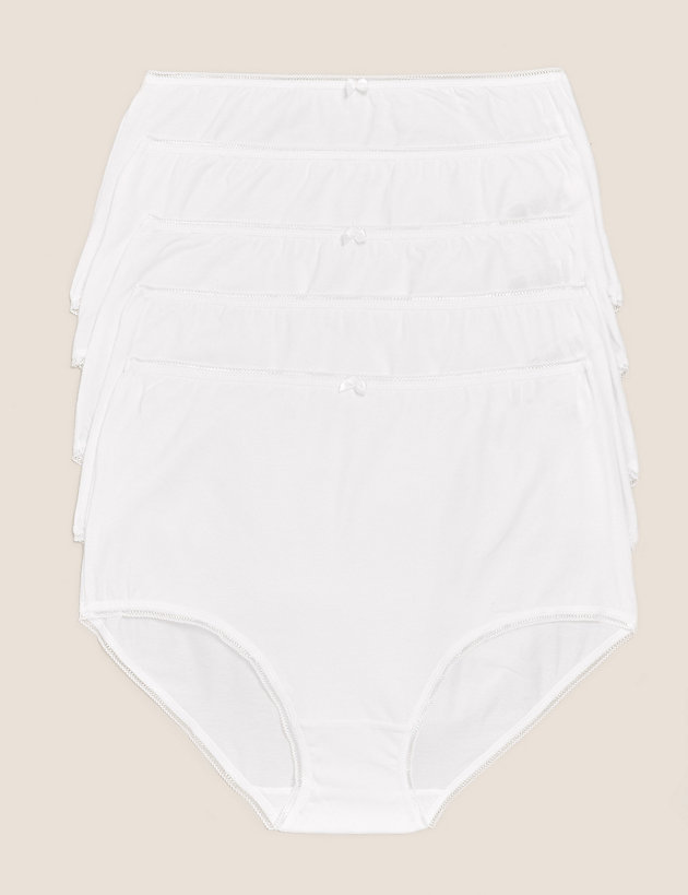 5pk Cotton Lycra   High Waisted Full Briefs
