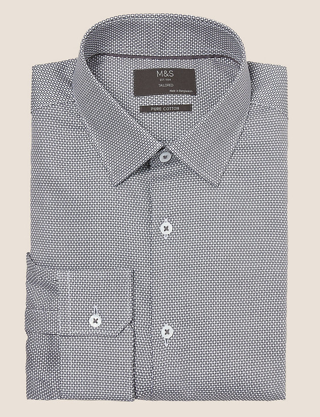 Tailored Fit Pure Cotton Textured Shirt