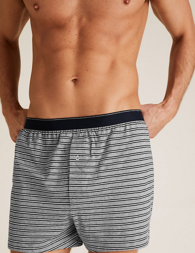 3 Pack Pure Cotton Striped Jersey Boxers