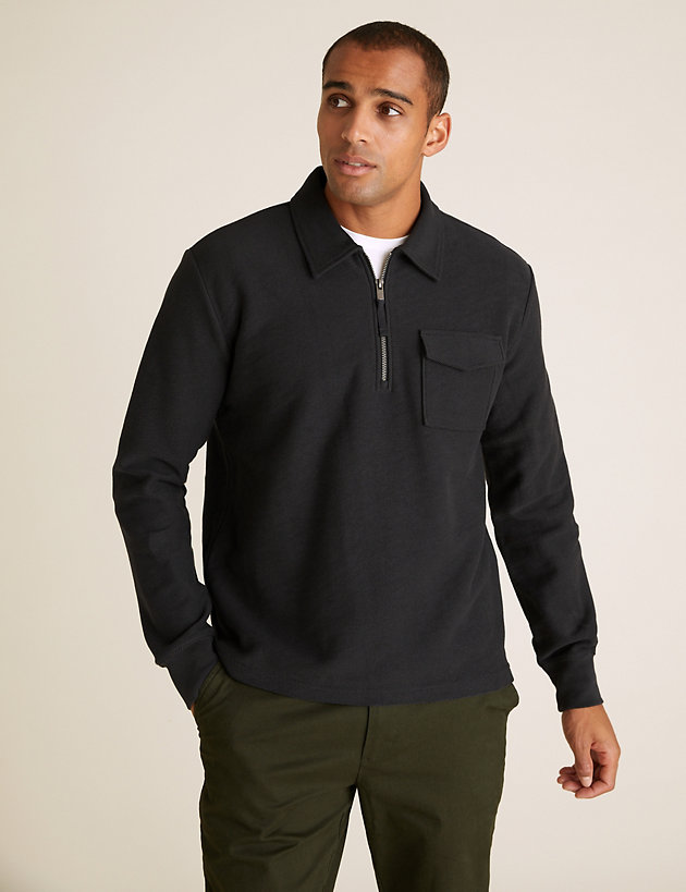 Cotton Textured Long Sleeve Polo Shirt
