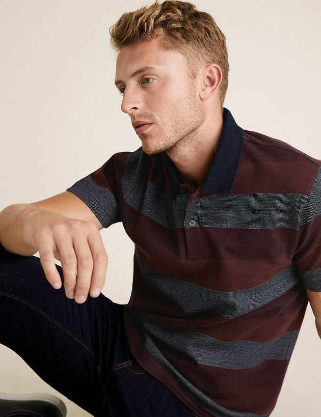 Pure Cotton Double Knit Striped Polo Shirt