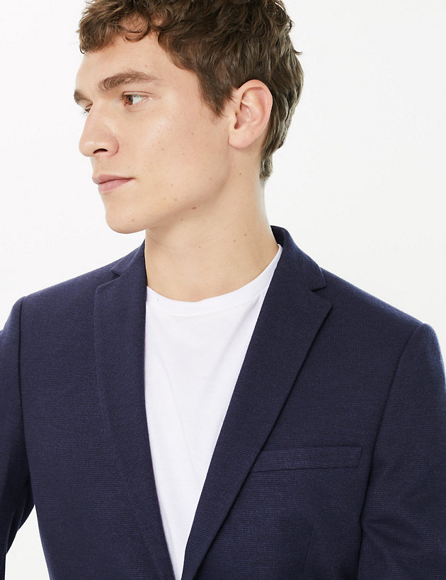 Slim Fit Textured Jacket with Stretch