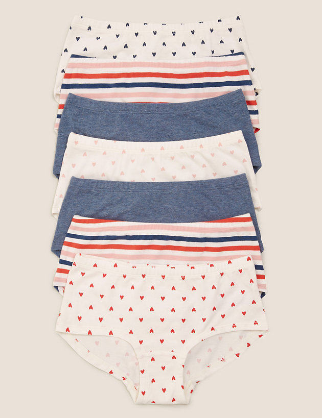 7pk Cotton with Stretch Heart Shorts (2-16 Yrs)
